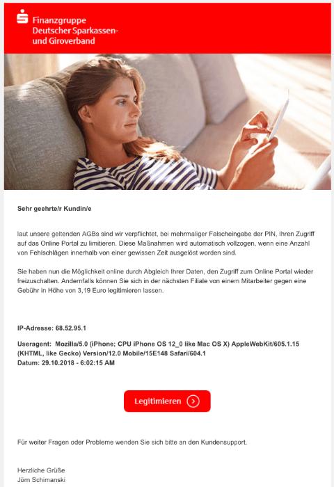 2018-11-01 Sparkasse Spam Mail Fehleingabe der PIN - Zugang vorläufig gesperrt
