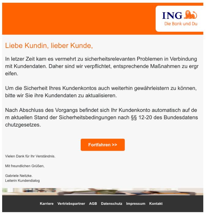 2018-11-05 Ing-DiBa Spam-Mail Wichtige informationen zu Ihrem ING-DiBa konto