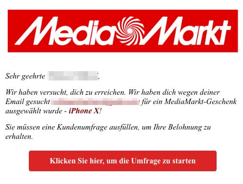 2018-11-08 Media Markt Fake-Mail Sie haben das wahrscheinlich nicht erwartet