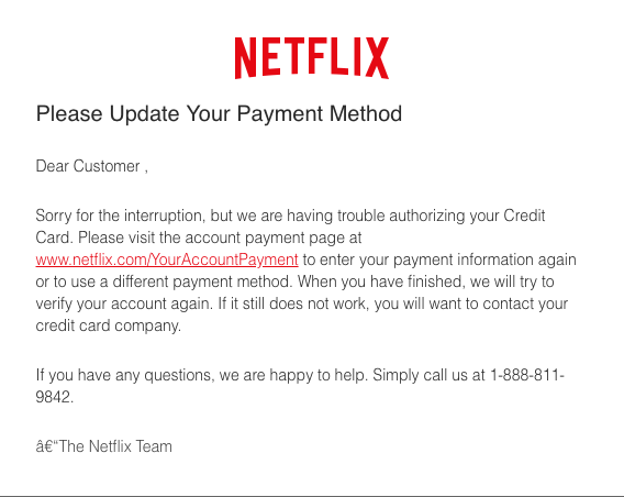 2018-11-08 Netflix Spam Mail Your receipt from Netflix