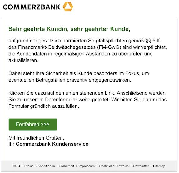 Commerzbank Phishing E Mail Neue Nachricht Vorsicht