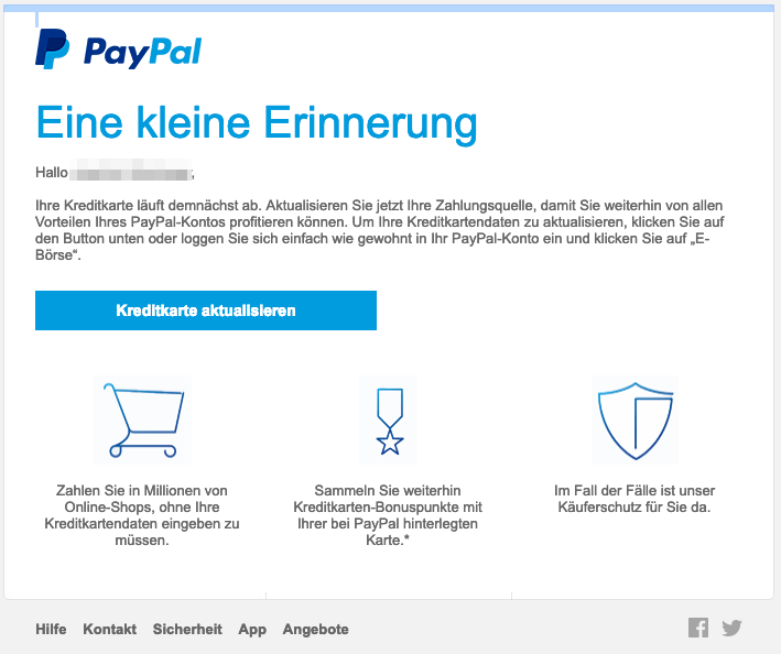 2019-03-26 PayPal Entwarnung Denken sie daran Ihre Kreditkarte zu aktualisieren