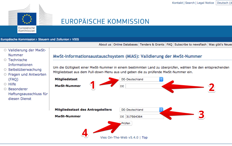 UST-ID online prüfen MIAS Europäische Kommission