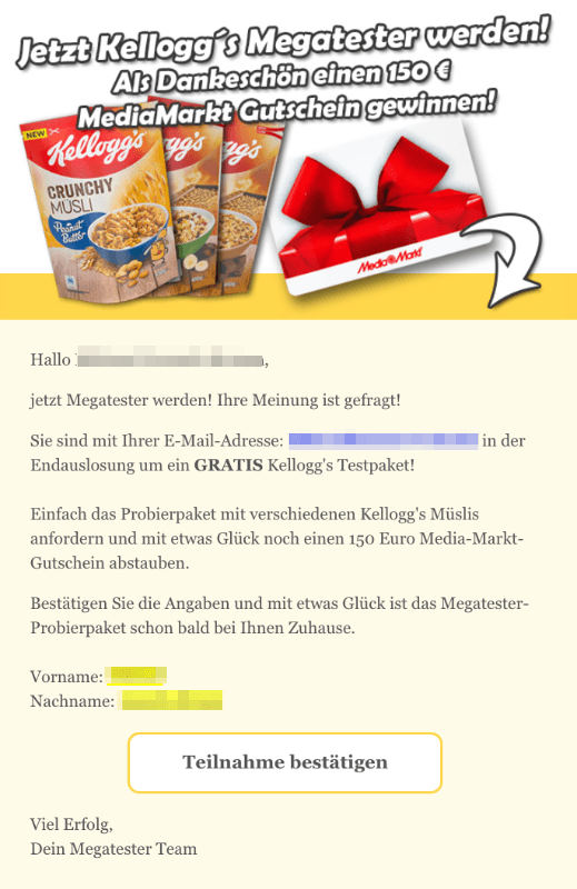 2018-11-01 Kellogs Spam Mail Gute Nachricht Ihr Kelloggs Testpaket wartet