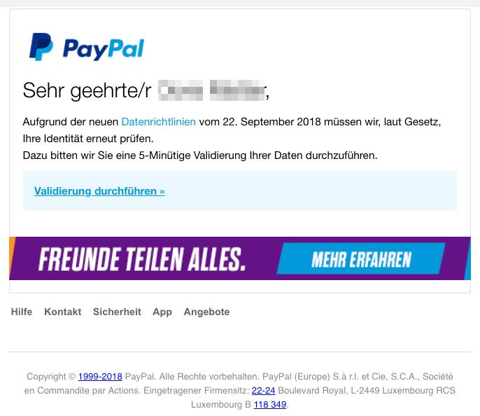 2018-11-02 PayPal Fake-Mail icherheitsbenachrichtigung - Eine erneute Validierung ist erforderlich