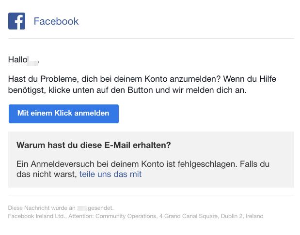 2018-11-05 Facebook Mail Sicherheitsbenachrichtigung melde dich mit nur einem Klick bei Facebook an