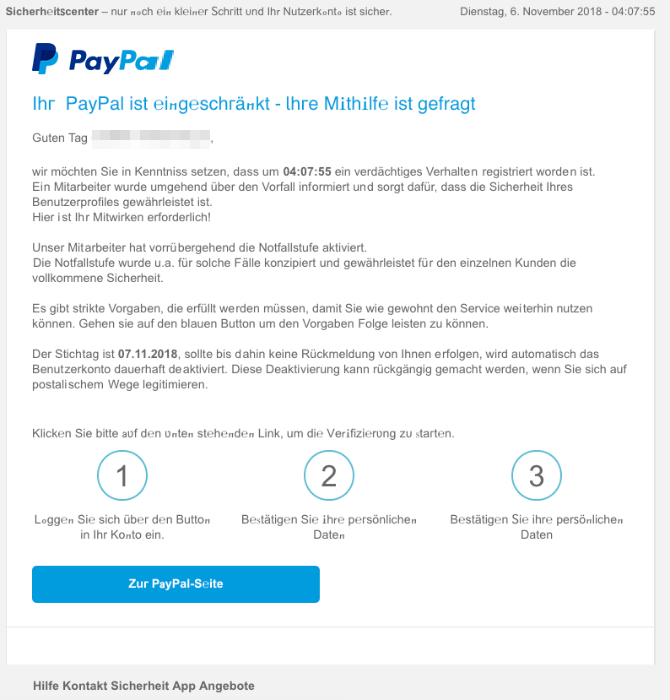 2018-11-06 PayPal Spam-Mail Ihr Konto wird eingeschränkt