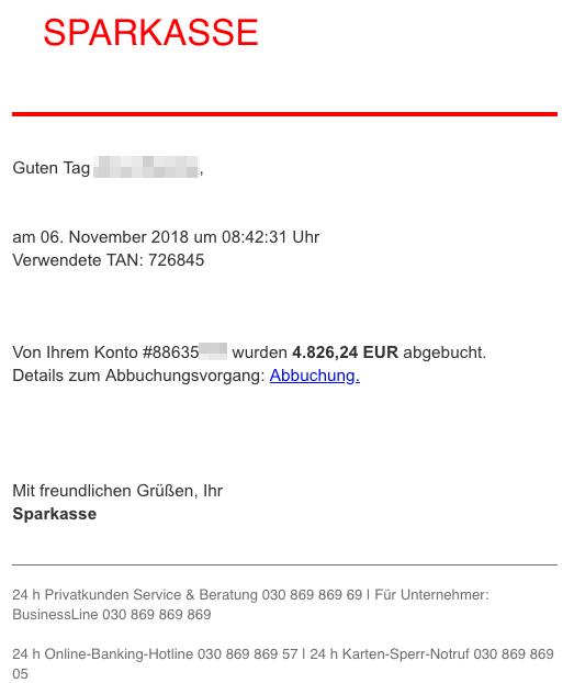 2018-11-06 Sparkasse Spam-Mail Phishing Bestätigung Zahlungseingang