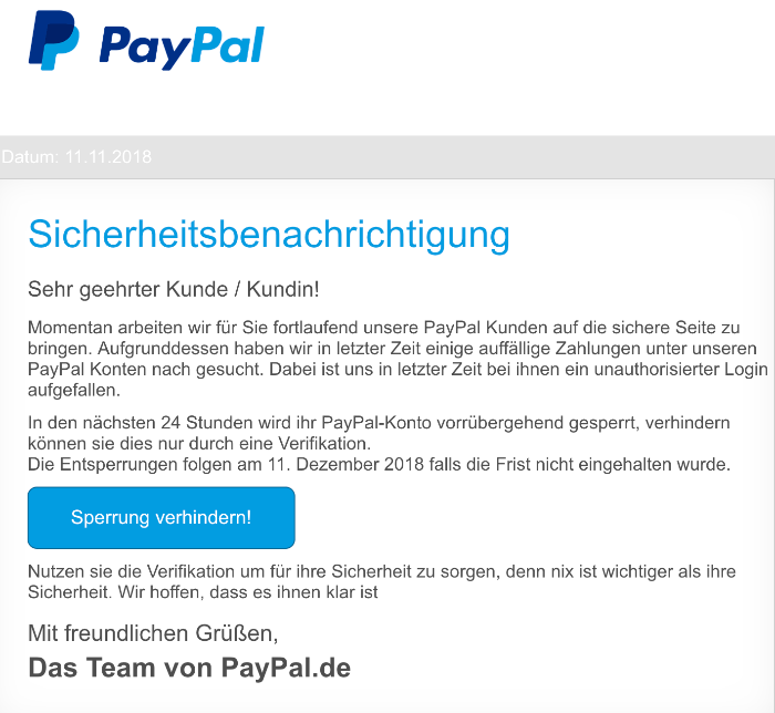 paypal phishing aktuell diese e mails sind betrug spam bersicht. Black Bedroom Furniture Sets. Home Design Ideas
