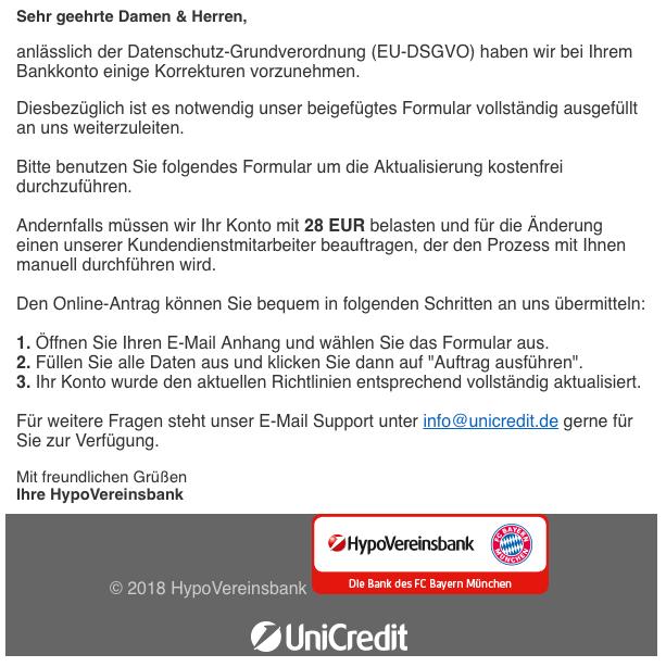 2018-11-12 Hypovereinsbank Spam-Mail Informationen zu Ihrem HVB-Bankkonto