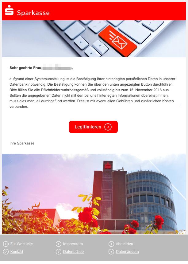 2018-11-12 Sparkasse Fake-Mail Betrug Ihr Handeln ist erforderlich