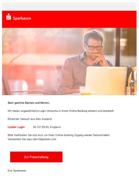 2018-11-12 Sparkasse Fake-Mail Wir haben ungewoehnliche Aktivitaeten in Ihrem Sparkasse-Konto festgestellt
