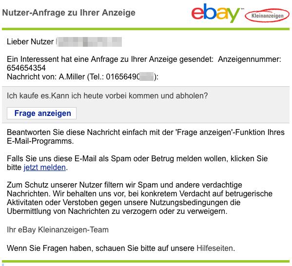 2018-11-12 ebay Spam-Mail Ein Interessent hat eine Anfrage zu Ihrer Anzeige gesendet