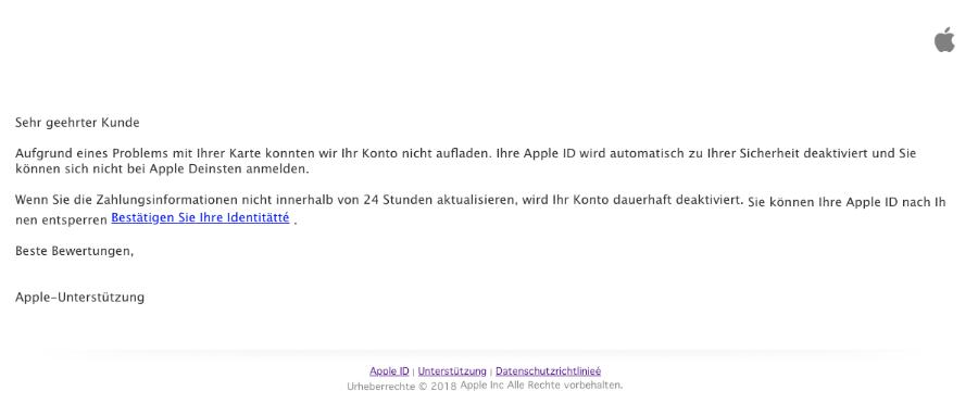 2018-11-13 Apple Spam-Mail Wir haben Benachrichtigungen zu Problemen gesendet