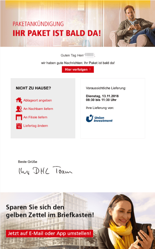 2018-11-13 DHL Paketankuendigung Ihr DHL Paket kommt bald