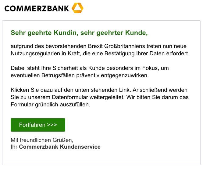 Commerzbank Phishing E Mail Fwdbeachten Vorsicht