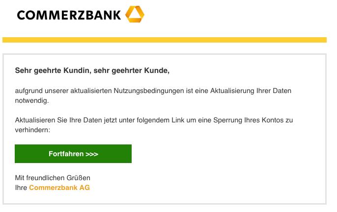2018-11-16 Commerzbank Spam Mail Neue Mitteilung