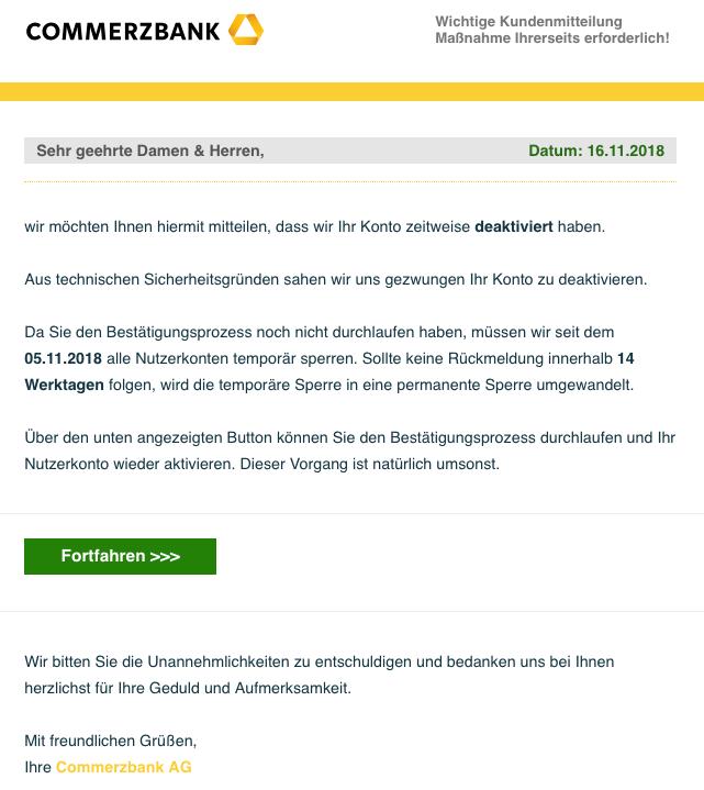 2018-11-16 Commerzbank Spam Mail Wichtige Kundenmitteilung