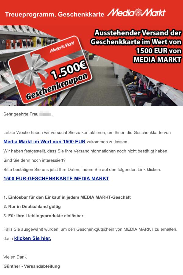 2018-11-18 Spam-Mail 1500 Euro Media Markt Geschenkkarte Ausstehende Bestätigung
