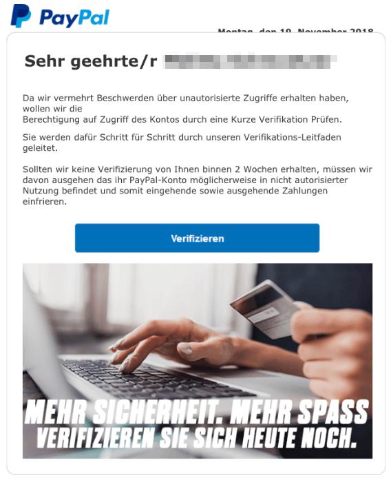 2018-11-19 PayPal Spam-Mail Ihre Mithilfe ist dringend vonnöten