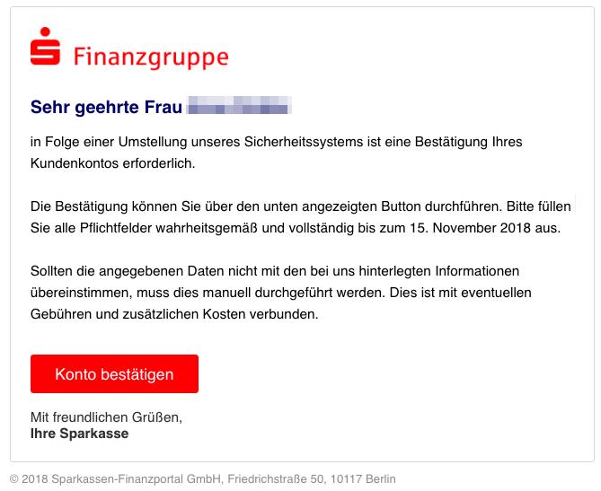 2018-11-19 Sparkasse Spam-Mail Information zu Ihrem Kundenkonto