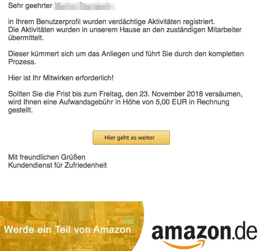 2018-11-21 Amazon Spam-Mail Wichtig- Ihr Kundenkonto wird eingeschränkt