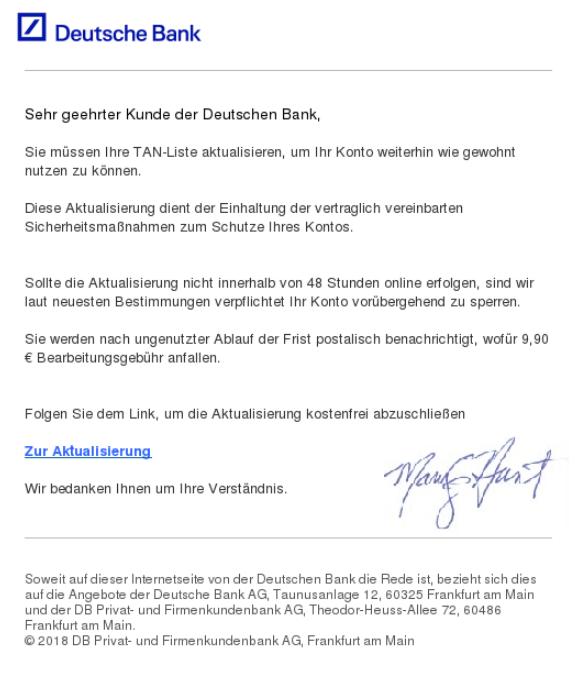 2018-11-22 Deutsche Bank Spam-Mail Aktualisierung TAN-Liste