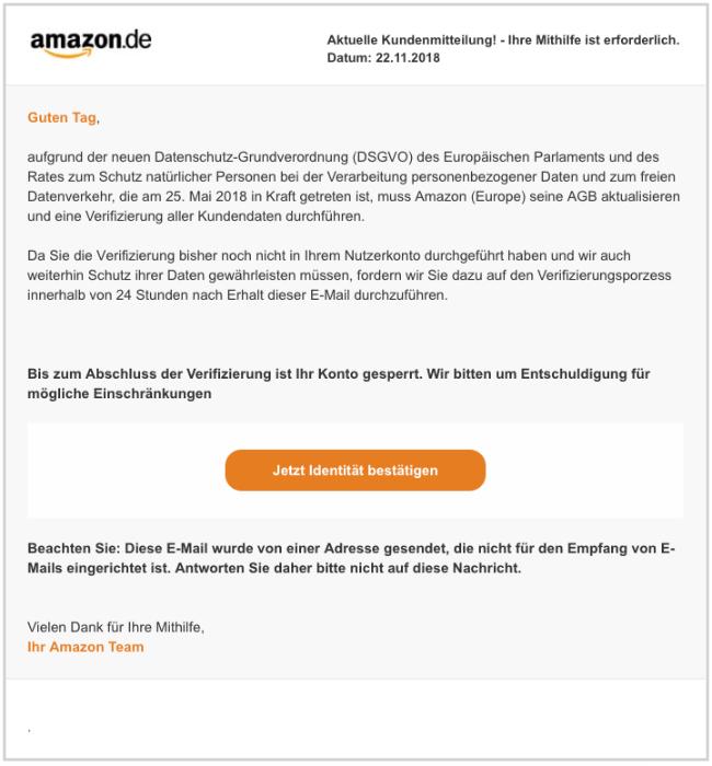 2018-11-23 Amazon Spam-Mail DSGVO Neue Kundennachricht - Mithilife erforderlich