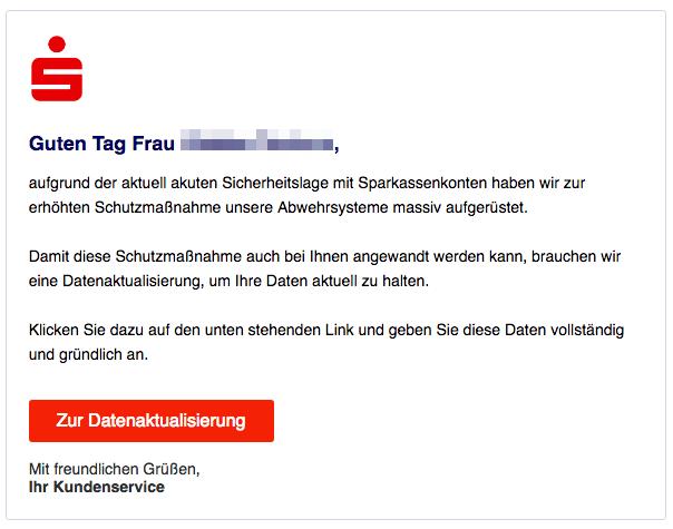 2018-11-23 Sparkasse Fake-Mail Aktuelle Nutzungsinformation