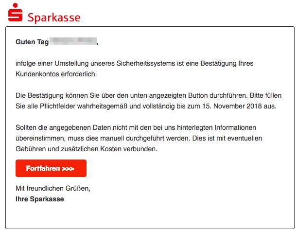 2018-11-23 Sparkasse Spam-Mail Information zu Ihrem Kundenkonto