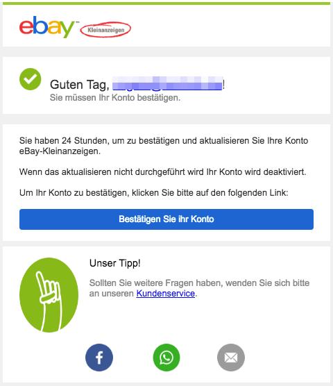 2018-11-25 eBay Kleinanzeigen Spam-Mail Bestätigen Sie Ihr Konto