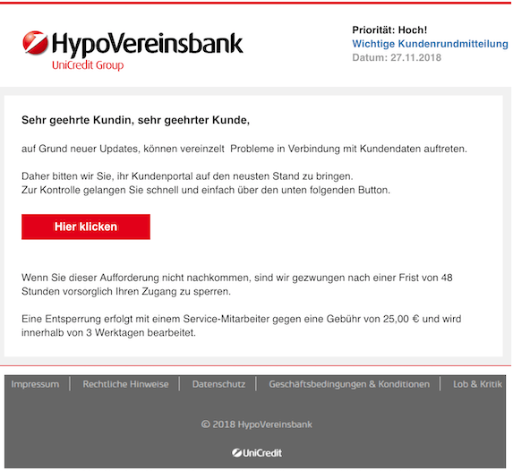 2018-11-27 HypoVereinsbank Phishing