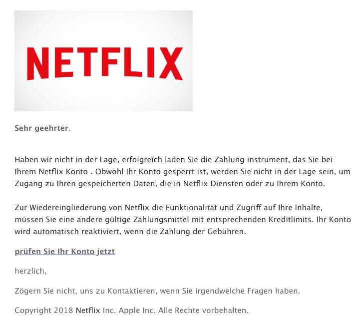 2018-11-27 Netflix Spam-Mail Ihr Konto gesperrt ist