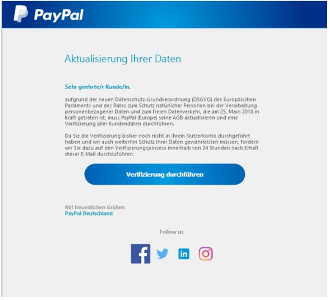 2018-11-27 PayPal Spam-Mail Kontoeinschraenkung- Aktualisierung Ihrer Daten