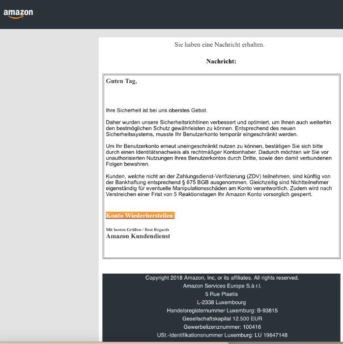 2018-11-28 Amazon Spam-Nachricht Bestätigung ihres Amazon-Kontos nötig