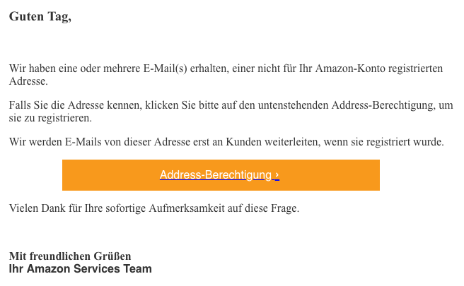 2018-11-29 Amazon Fake-Mail Bestatigen Sie eine E-Mail-Adressa
