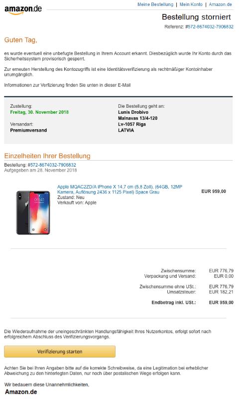 2018-11-29 Amazon Spam Mail Bestellung storniert