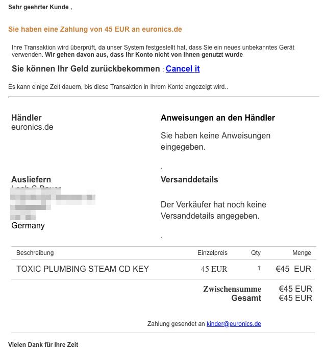 2018-11-29 PayPal Fake-Mail Zahlungsrechnung an euronics