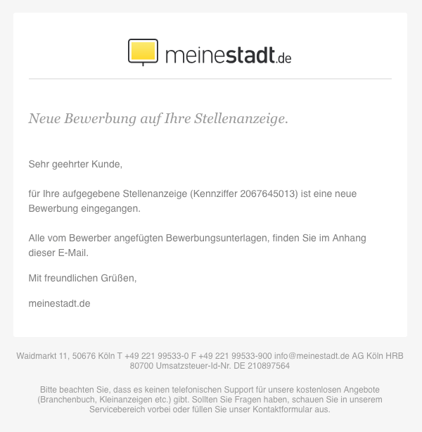 2018-11-29 Virus-Mail meinestadt-de Neue Bewerbung auf Ihre Stellenanzeige