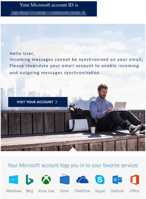 2018-11-30 Microsoft Outlook Spam Mail Action Required- Email Account Synchronization Failed