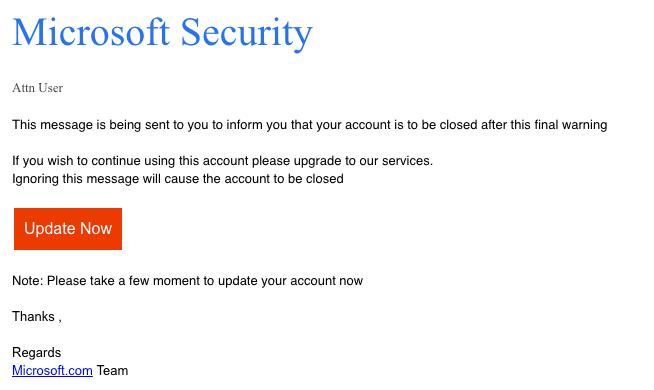 2018-11-30 Microsoft Phishing E-Mail FINAL UPDATE WARNING