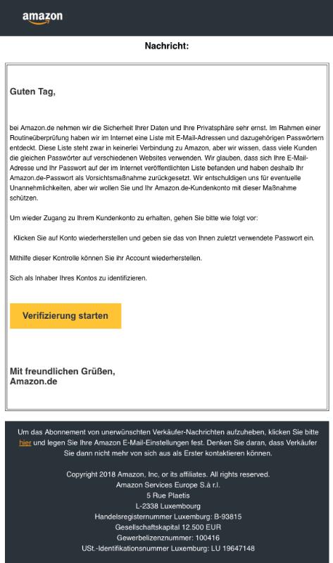 2018-12-01 Amazon Spam-Mail Bestätigung ihres Amazon-Kontos nötig
