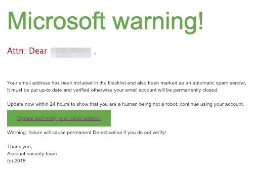 2018-12-14 Microsoft Fake-Warnung Microsoft Account Closure