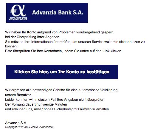 2018-12-27 Advanzia Bank Spam-Mail Ihr Konto ist vorübergehend gesperrt
