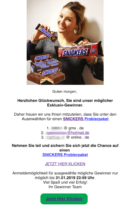 2019-01-15 Spam Mail Snickers Probierpaket