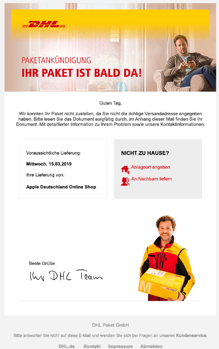 2019-03-14 DHL-Mail Paketlieferung Problem