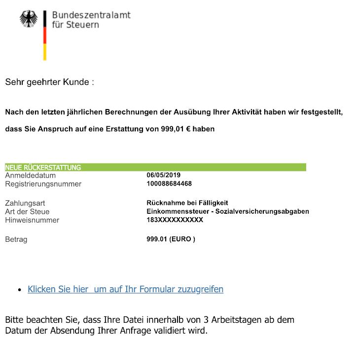 2019-05-07 Fake-Mail Bundeszentralamt fuer Steuern Sie haben eine Rueckerstattung erhalten