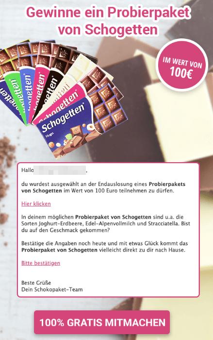 2019-05-13 Spam-Mail Schogetten Probierpaket