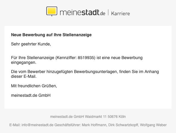 2019-05-31 Fake-Mail Spam Meinestadt-de Neue Bewerbung auf Stellenanzeige
