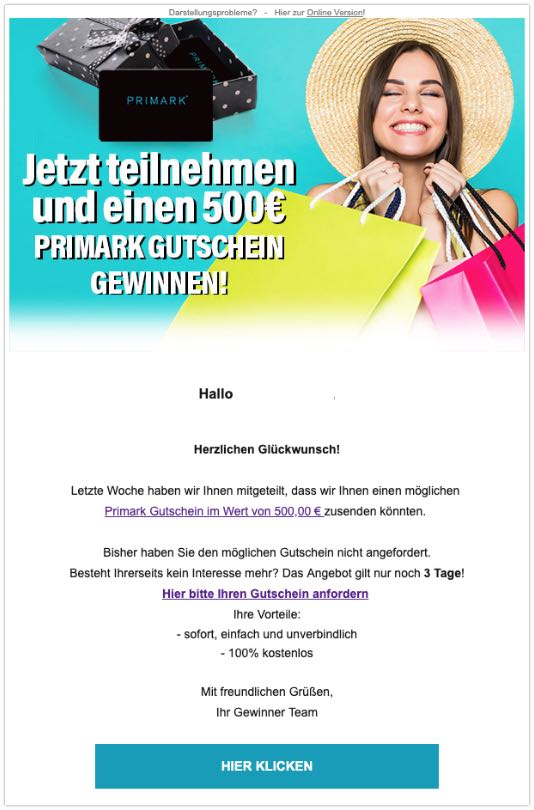 2019-07-10 Spam-Mail 500 Euro Primark Gutchein